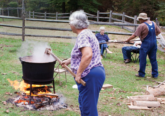 Making apple butter.